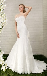 Mermaid Floor-Length Sweetheart Sleeveless Lace-Up Lace Dress With Bow