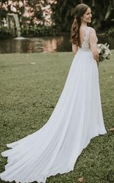 Bohemian V-neck A Line Chiffon and Lace Floor-length Court Train Sleeveless Wedding Dress