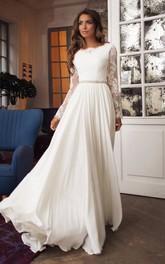 Taffeta Lace Floor-length Brush Train A Line Long Sleeve Modest Wedding Dress