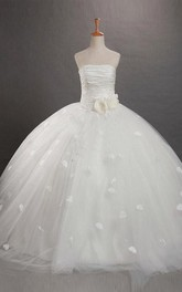 Ball Gown Strapless Ruffles Sleeveless Floor-length Organza Flower Girl Dresses