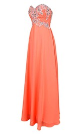 Sweetheart Chiffon Gown With Appliques and Beadings