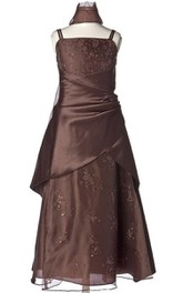 Sleeveless A-line Appliqued Dress With Spaghetti Straps