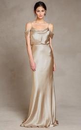Floor-Length Spaghetti Sleeveless Satin Bridesmaid Dress With Low-V Back