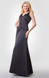 V-neck Ruched Long Chiffon Dress With V-back
