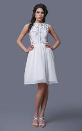 Jewel Neck Sleeveless A-Line Knee Length Chiffon Dress With Embroidery