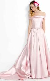 A-Line Floor-Length Off-The-Shoulder Satin Prom Dress