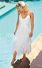 Bohemian Beach Halter Neck Tea Length Chiffon Bridal Gown
