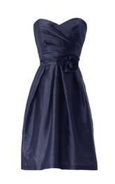Sweetheart Asymmetrical Ruched Bodice Short Satin Dress