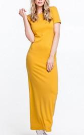 Scoop Neck Short Sleeve Sheath Jersey Ankle Length Dress