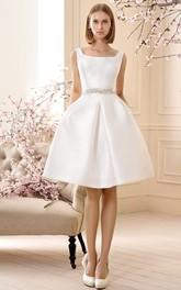 A Line Jeweled Sleeveless Short Mini Square Neck Satin Wedding Dress