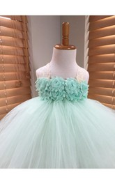 Halter Empire Floral Bodice Tulle Ball Gown With Back Bow