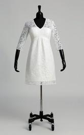 A-line V-neck Illusion 3/4 Length Sleeve Knee-length Lace Wedding Dress