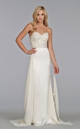 Exquisite Beaded Embroidered Bodice Charmeuse Sheath Dress