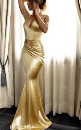 Satin Floor-length Sweep Train Trumpet Sleeveless Casual Evening Dress