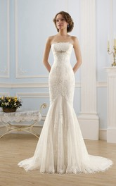 Mermaid Long Strapless Sleeveless Corset-Back Lace Tulle Dress With Appliques And Beading