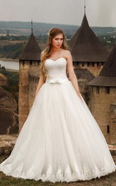 A-line Sweetheart Sleeveless Appliques Floor-length Tulle Dress With Bow