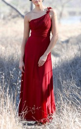 One-shoulder Empire A-line Chiffon Floor Length Dress With Ruching
