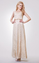 Dramatic Scoop Neckline Long Lace Dress