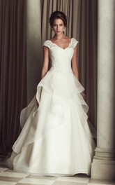 V-Neck Dress With Ruffle And Lace Bodice