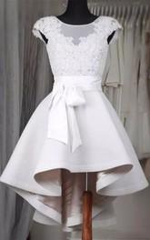 A-line Short Sleeve Satin Lace Bateau High-low Homecoming Dress