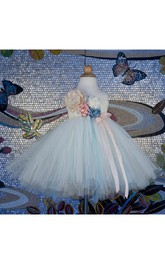 One Shoulder Empire Tulle Ball Gown With Flowers and Bow