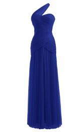 One-shoulder Asymmetrical Long Ruched Chiffon Dress