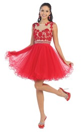 A-Line Short Scoop-Neck Sleeveless Tulle Illusion Dress With Ruffles And Appliques