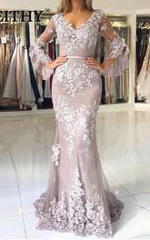 Lace Floor-length Sweep Train Trumpet 3/4 Length Sleeve Elegant Evening Dress