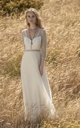 3/4 Sleeve Elegant Chiffon Wedding Dress With Lace Top And Keyhole Back