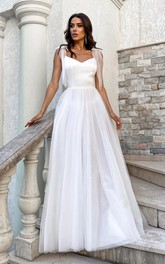 V-neck Spaghetti Satin Tulle Simple And Cute Wedding Dress With Bows On Shoulder