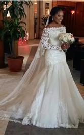 Mermaid Off-the-shoulder Long Sleeves Lace Brush Train Lace Zipper Back Wedding Dresses