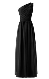 One-shoulder Pleated Chiffon Dress With Belt