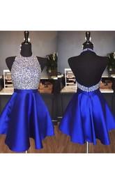 A-line Sleeveless Satin Halter Backless Short Mini Homecoming Dress