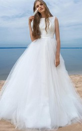 Satin Tulle Sweep Train Ball Gown Sleeveless Adorable Wedding Dress with Bow