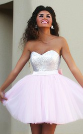 Tulle Sequins Mini A Line Sleeveless Adorable Homecoming Dress