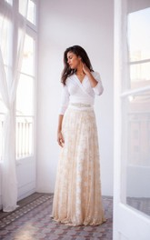 Vintage Long Sleeve Golden Lace Lace Gown Dress With Sleeves