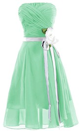 Strapless Ruched A-line Gown With Flower and Sash