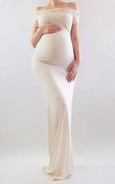 Sheath Illusion Short Sleeve Empire Maternity Dress