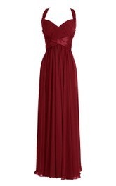 Queen Anne Dress With Satin Belt and Keyhole Back