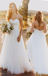 Sweetheart Court Train Wedding Dress with Lace