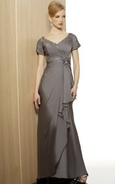 Cap Sleeve V-Neck Beaded Jersey Formal Dress With Draping And Criss Cross