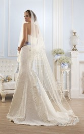 Mermaid Maxi Strapless Backless Lace Dress With Appliques And Waist Jewellery