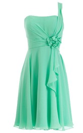 One-shoulder Short Chiffon Dress With Floral Detail
