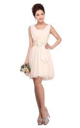 Sleeveless Short Ruffled Dress With Bow Tie