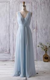 V Neck Backless Empire Waist Pleated A-line Chiffon Long Dress