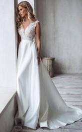 Satin Lace Floor-length Court Train A Line Sleeveless Romantic Wedding Dress