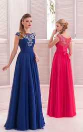 A-Line Floor-Length Sweep Bateau Short Sleeve Chiffon Beading Ruching Lace-Up Dress