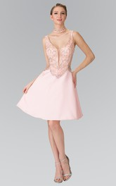 Illusion A-Line Short V-Neck Sleeveless Satin Low-V Back Dress With Beading
