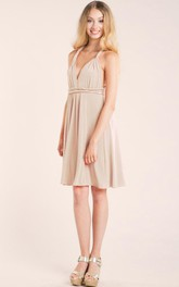 Short Knee-length Strapped Jersey&Satin Dress