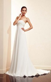 Sleeveless Floor-length Empire Long Train Dress